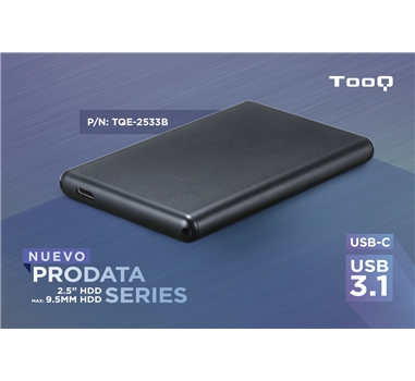 """Tooq - TQE-2533B - Caja externa 2,5"""" SATA III a USB-C / 3.1"""