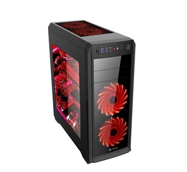 """Talius - Caja ATX Vorttex - Sin Fuente - USB 3.0 + SD + Audio - 2x 5,25"""" + 2x3,5""""+2x2,5"""" - LEDs Rojos - Panel transparente - Color Negro"""