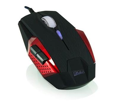 3Go Apocalipsis - Ratón Gaming - USB - óptico - hasta 3000dpi - (negro/rojo)