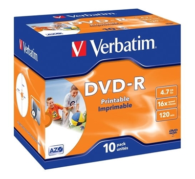 VERBATIM DVD-R 4.7GB 16X JEWEL CASE 10 ADVANCED AZO IMPRIMIBLE INKJET