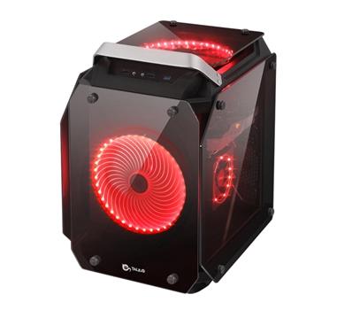 Talius - Caja ATX Golem formato cubo - Cristal Templado - Ventiladores LED Rojo - USB 3.0
