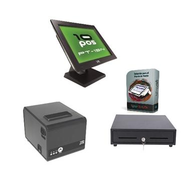 """PACK POS-EMATE-A1 TPV - 15"""" 10POS- Intel Atom D525 1,8 Ghz - 2Gb RAM DDR3 - SSD 32 + CAJÓN PORTAMONEDAS + IMPRESORA 10POS TÉRMICA + Escáner código barras 10POS LS-270 UN + TPWSoft Lite"""