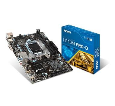 Placa base 1151 microATX MSI H110M PRO-D - 2xDDR4 (hasta 2133Mhz) - 4xSATA3 - USB 2.0 (4/2) USB 3.1 (2/2) - DVI - Audio 7.1 - Red Gigabit