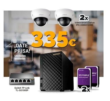Kit videovigilancia profesional 2 cámaras - Grabación 30 días 24h - Visionado en remoto