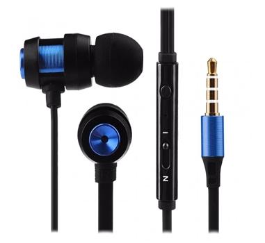 Tech & More - Auriculares de boton con manos libres y control de volumen Negro-Azul. LIQUIDACION.