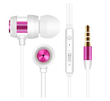 Tech & More - Auriculares de boton con manos libres y control de volumen Blanco-Rosa. LIQUIDACION.