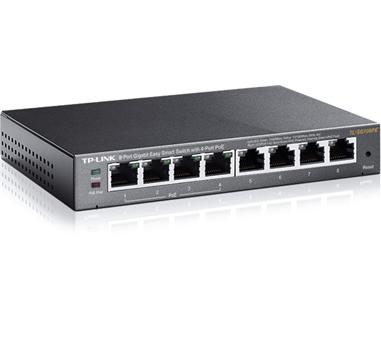 TP-Link - Switch TL-SG108PE - 8 Puertos Gigabit 10/100/1000 - 4 puertos POE 802.03af Max 55W - Gestionable EasySmart - Carcasa Metalica