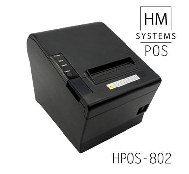Impresora de tickets térmica HM-Systems HPOS-802 - 250mm/s - USB + Ethernet + Serie RS232 - Corte automático parcial o completo - 80mm - Avisador acústico