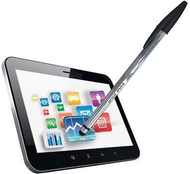 Bic cristal stylus - Bolígrafo azul con puntero - Para pantallas táctiles capacitivas tablet / monitor / smartphone - En blister
