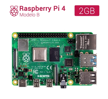 Raspberry Pi 4 modelo B - Broadcom BCM2711 Quad core Cortex-A72 - 2 GB - Wifi - Bluetooth - Gigabit Ethernet - 2 x USB 3.0 - 2 x USB 2.0 - GPIO header 40-pin - 2 x HDMI - DSI - CSI - MicroSD - PoE