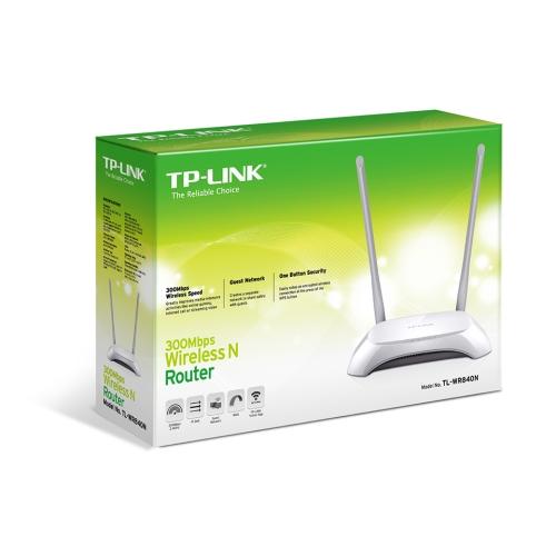 TPLINK TL-WR840N - Router inalámbrico neutro - conmutador de 4 puertos - 802.11b/g/n 300 Mbps - sobremesa - 2 antenas fijas