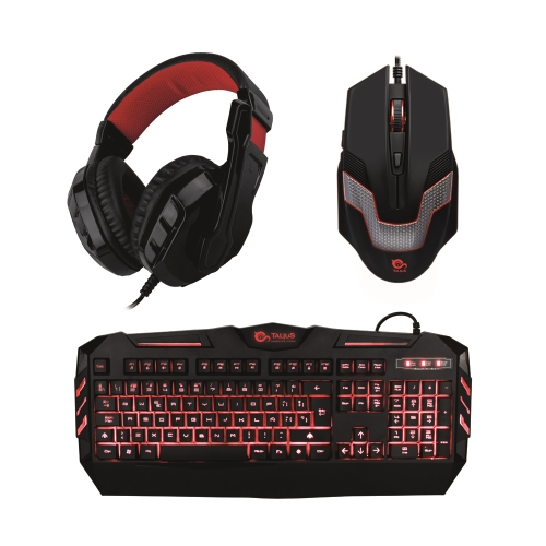 Talius - Kit Gaming - Teclado - Raton - Auriculares - Iluminación Roja
