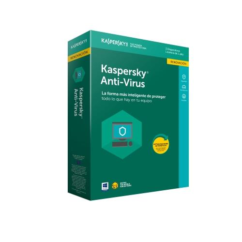 Kaspersky Antivirus 2018 - Paquete de suscripción ( 1 año ) - 3 PC - Renovación - Win