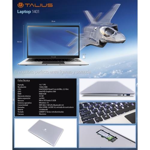 Talius - Portatil LAP-1401 - Intel N3450 2.2Ghz/4GB/32GB+M2/MicroSD hasta 512Gb/Graficos IntelHD/WIFI/BT/MiniHDMI/Bateria 10.000mAh/Win10/Aluminio