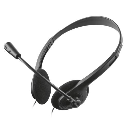 Trust - Auriculares diadema Primo - Microfono Incorporado - Micro ajustable - Conector 3.5 mm - Negro