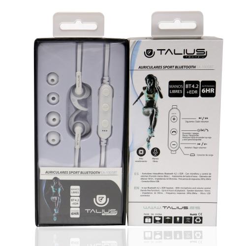 Talius - Auricular Deportivo EA-1005BT - Intrauditivos - Bluetooth - Manos libres - Control de volumen - Hasta 6 horas de autonomia - Color Negro