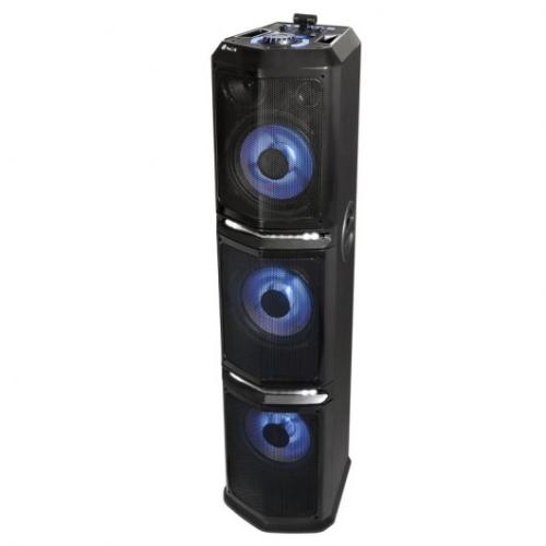 NGS - Altavoz portatil Wildtrap 3 - 600W - BT/FM/2xUSB/2xAUX/Jack - 3 Subwoofer - Mesa de efectos y mezclas DJ - Iluminación