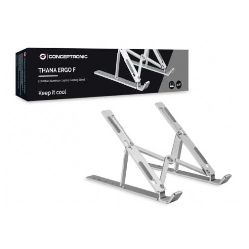 Conceptronic - Base de refrigeracion ergonomica de alumnio plegable para portatiles