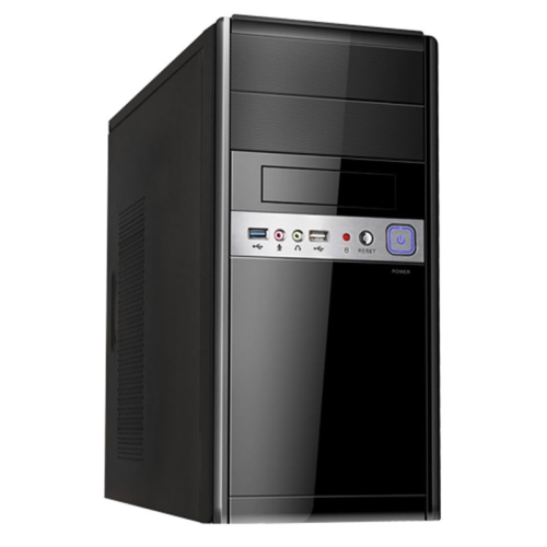 Caja microATX Unykach UK-6011 U3 Negra - FA 500w - USB 3.0 y USB 2.0, Audio y Microfono frontal - Color Negro - 395x170x365 mm