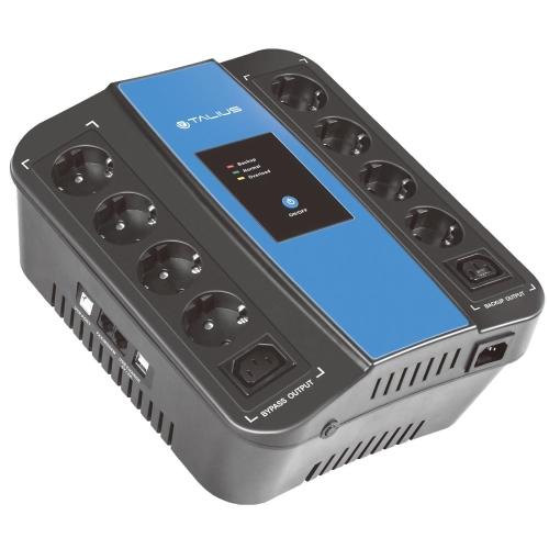 Talius - SAI POW-PL1000VA - Inline - 1000VA/600W - Tipo Regleta - 4 Tomas Schuko SAI + 4 Tomas Schuko Regleta + USB  - CN18