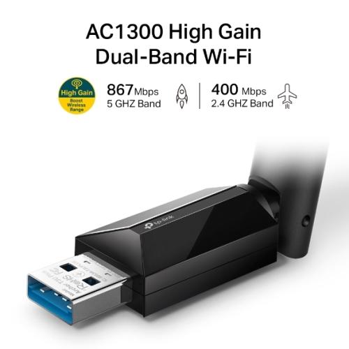 Tp-Link - Adaptador USB Inalámbrico Banda Dual AC1300 Alta Ganancia - Antena externa