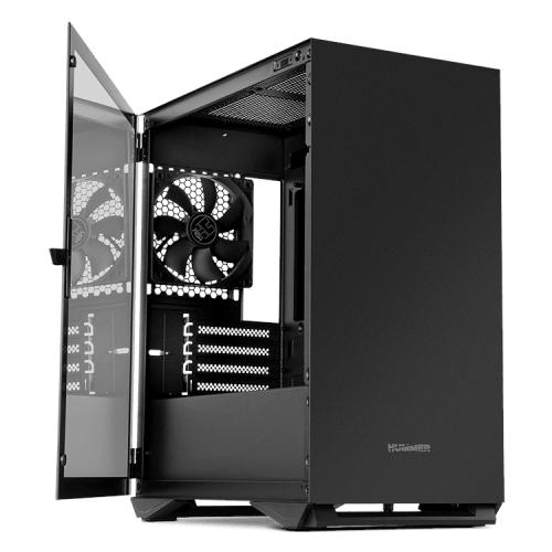 Nox Hummer Zero Black Edition - Caja microATX - Lateral cristal templado - Diseño minimalista - 1 x 120mm incluido - hasta 5 ventiladores - Filtro antipolvo - Negra - 208x376x405
