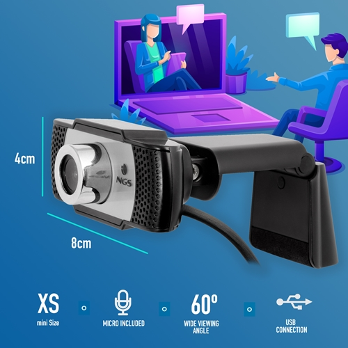 NGS - Webcam Xpresscam 720 - 1280 X 720 - Micrófono incorporado - USB